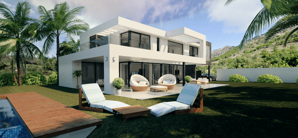 Modern villas under construction in mijas blue lotus for Construction villa